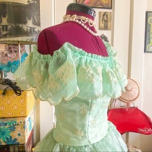 1970's Emerald Lace Tiered Southern Belle Dress